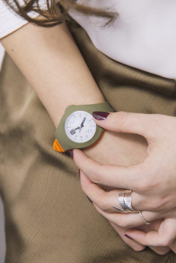 Mash up Bicolor Medium Ø 40 mm Army green Orange horloge