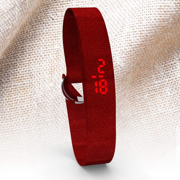 LED WATCH FABRIC Coral red